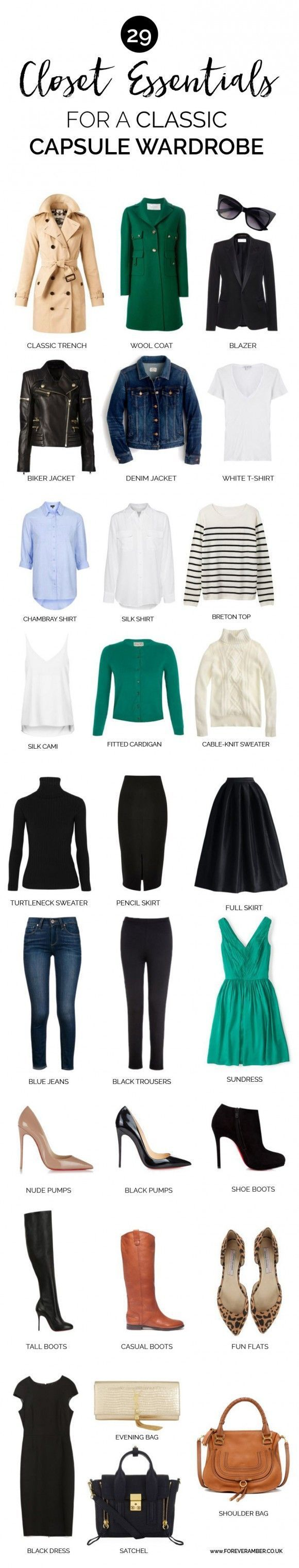 Wardrobe essentials for a classic capsule wardrobe. I would change out black and ditch heels.