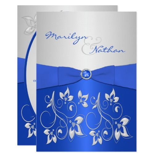 Cobalt Blue and Silver Floral Wedding Invitation