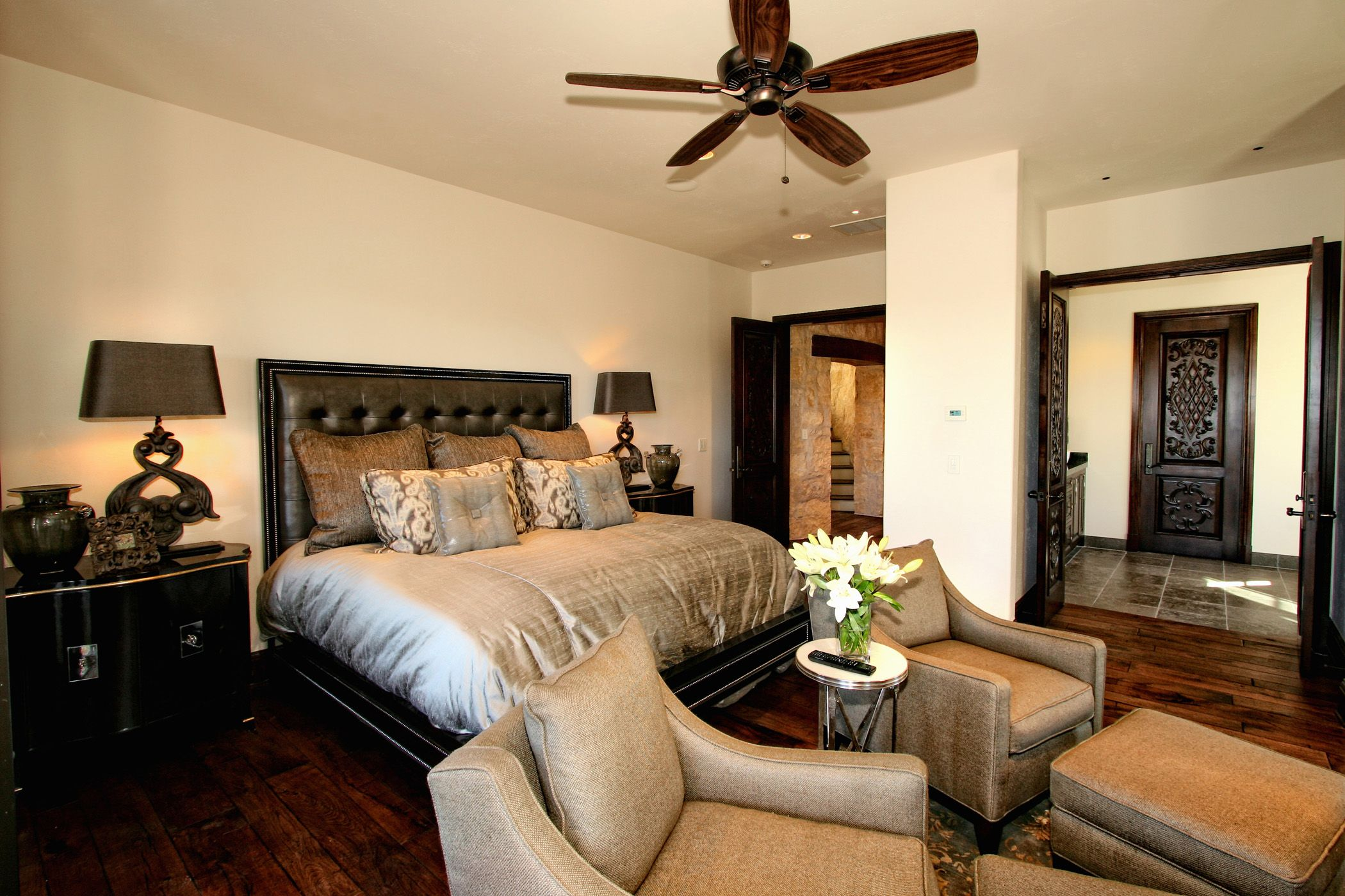 Eclectic Spanish Style Lake Home Bedroom by Zbranek & Holt Custom ...