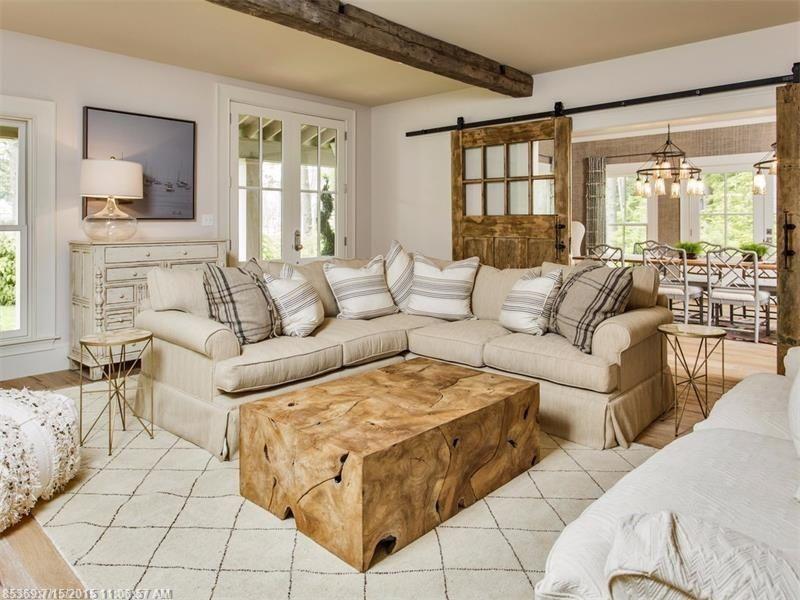 Rustic Living Room With NuLOOM Moderna Moroccan Shag Area Rug Exposed Beam Real Sliding Hardware Custom Barn Doors