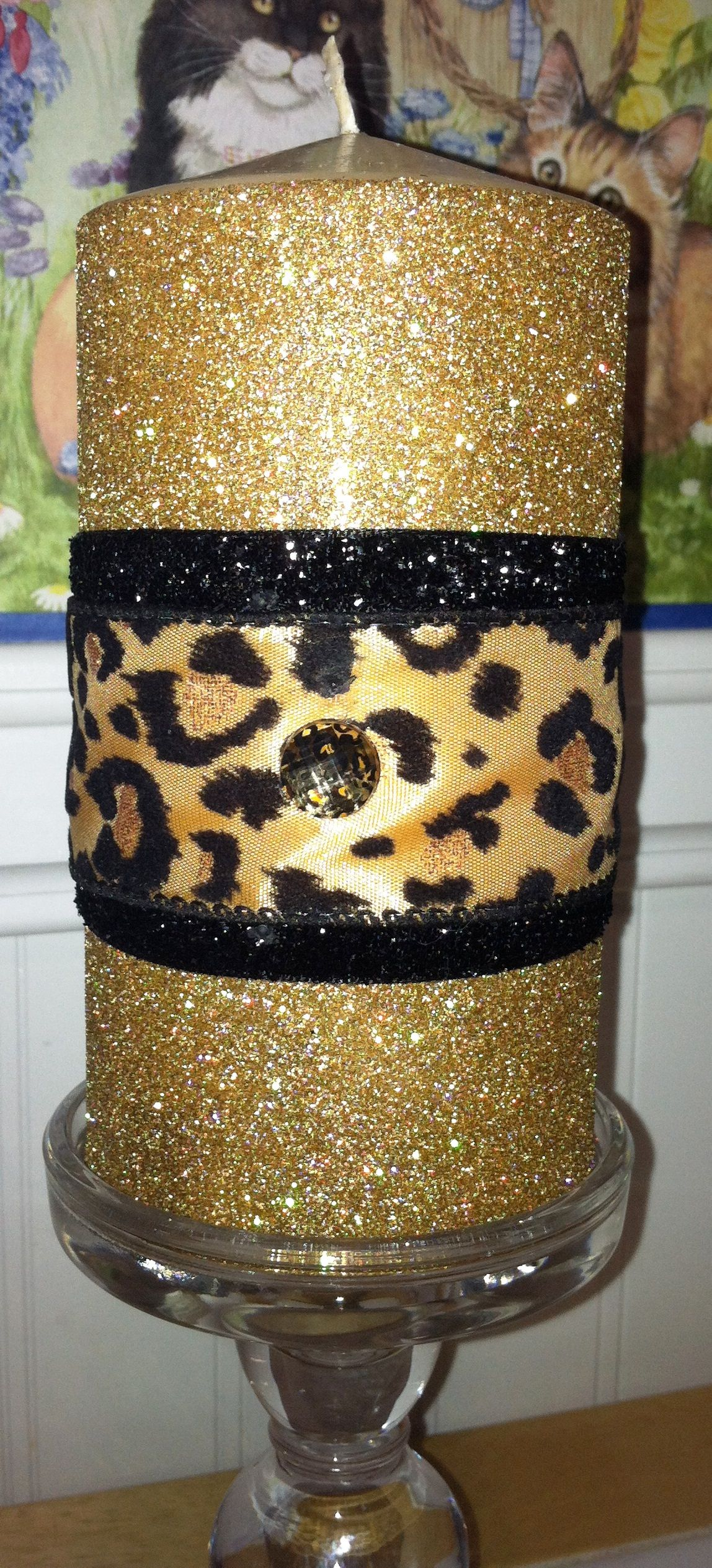 """6"""" Glittered Leopard Candle 