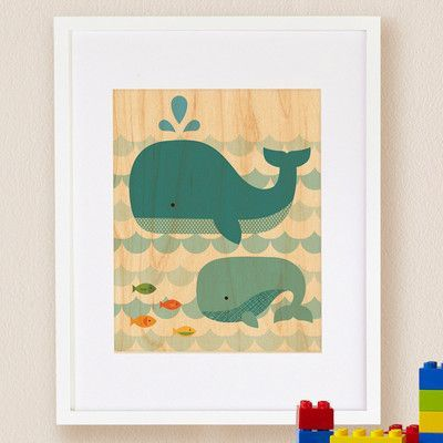 Petit collage whale baby small framed art