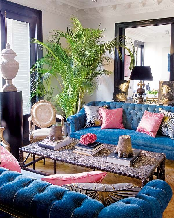 Room Of The Day Blue Tufted Sofas Pink Black And White Accents With Greenery Great Living Red Home Decor Colors I Wouldnt Have