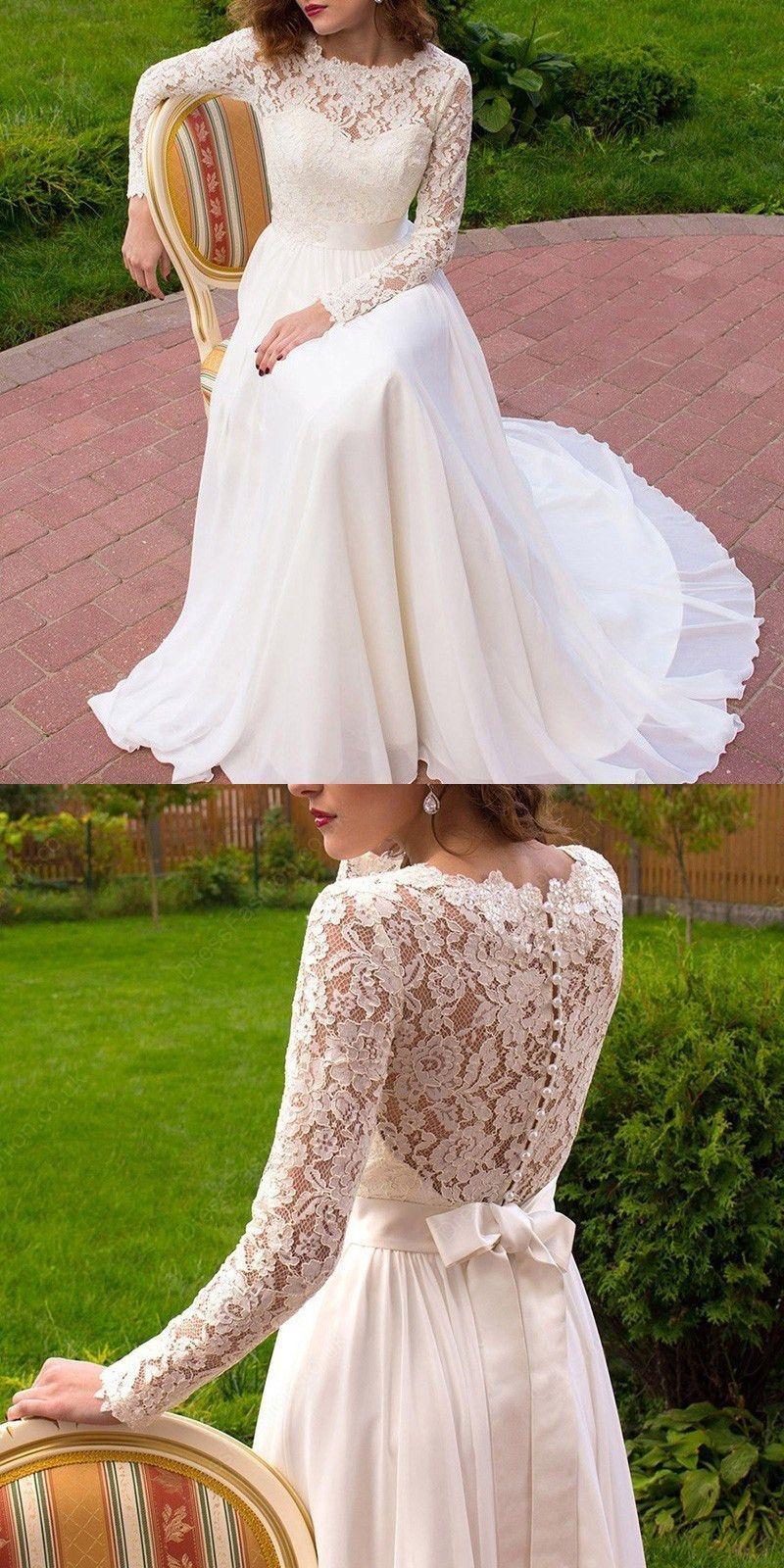 Elegant aline wedding dress crew neck chiffon long sleeves belt