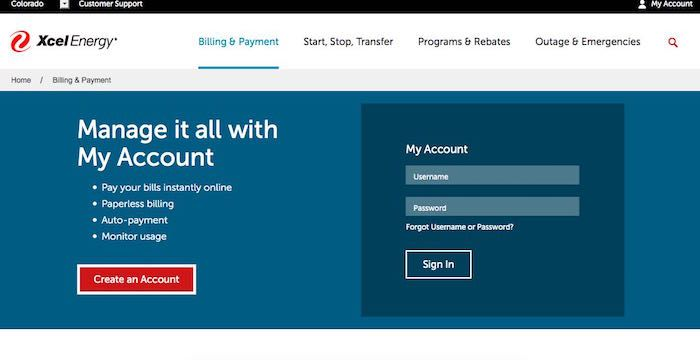 Xcel Energy Login Account Pay