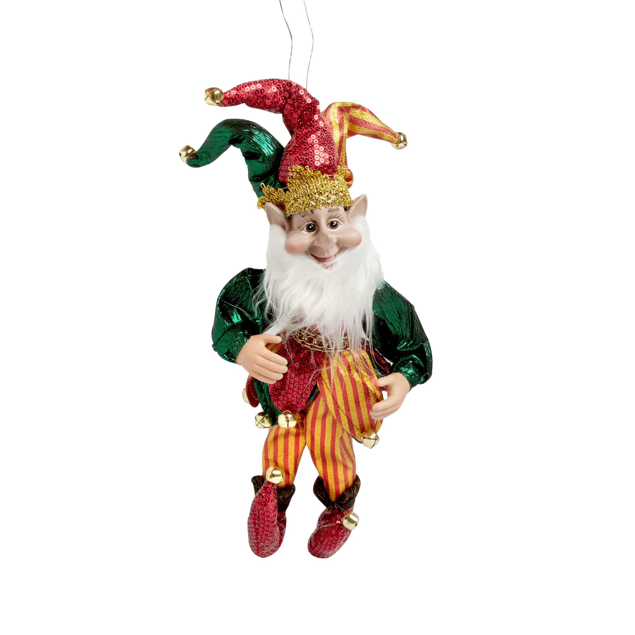 14 Red Gold Jester Elf Poseable Ornament Red Gold Poseable Christmas Tree Shop Tree Shop Halloween Costumes Women