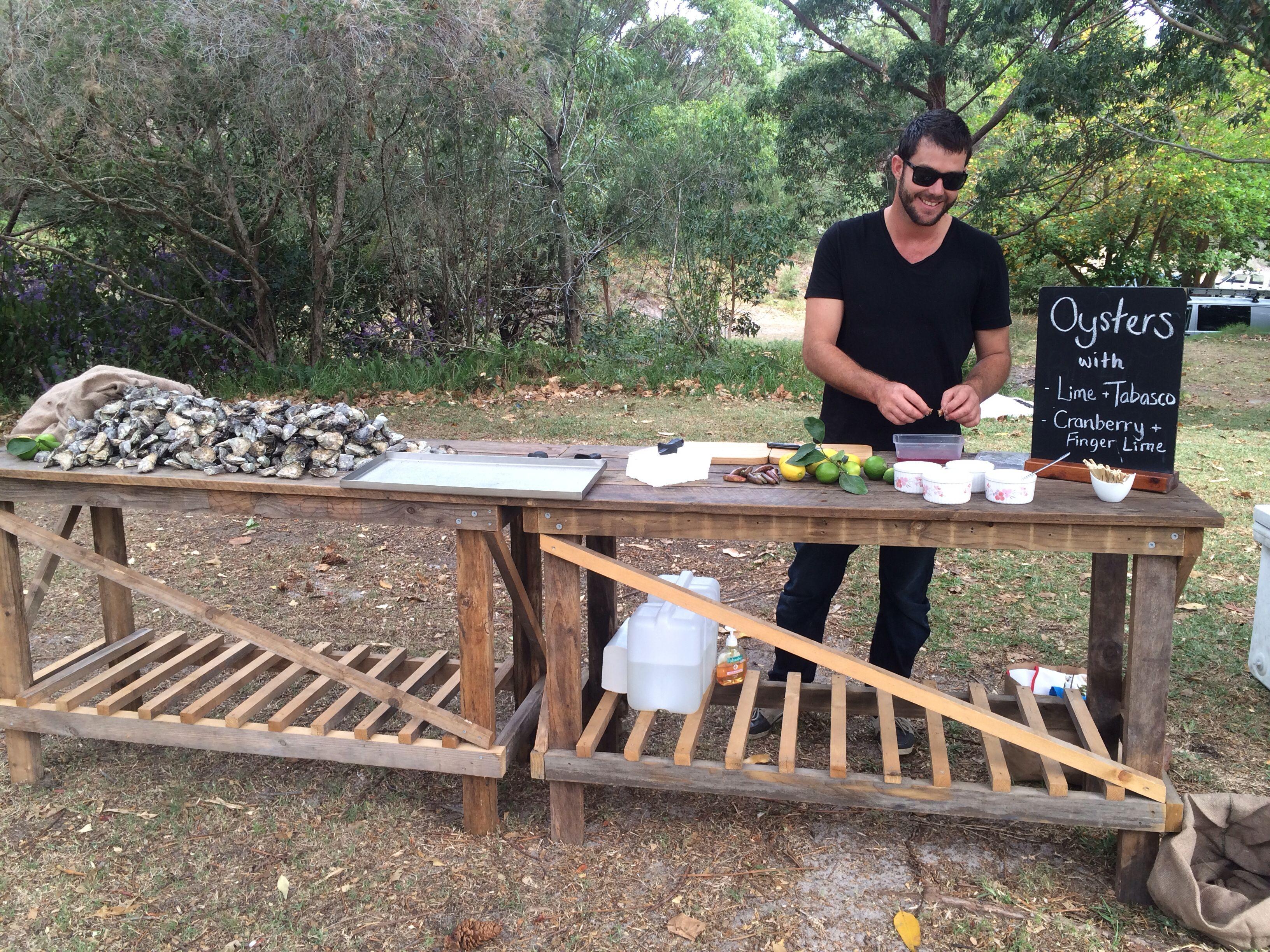 Oyster Farmer, Ewan McAsh, setting up 'The Oyster Bar' at a local south coast wedding.