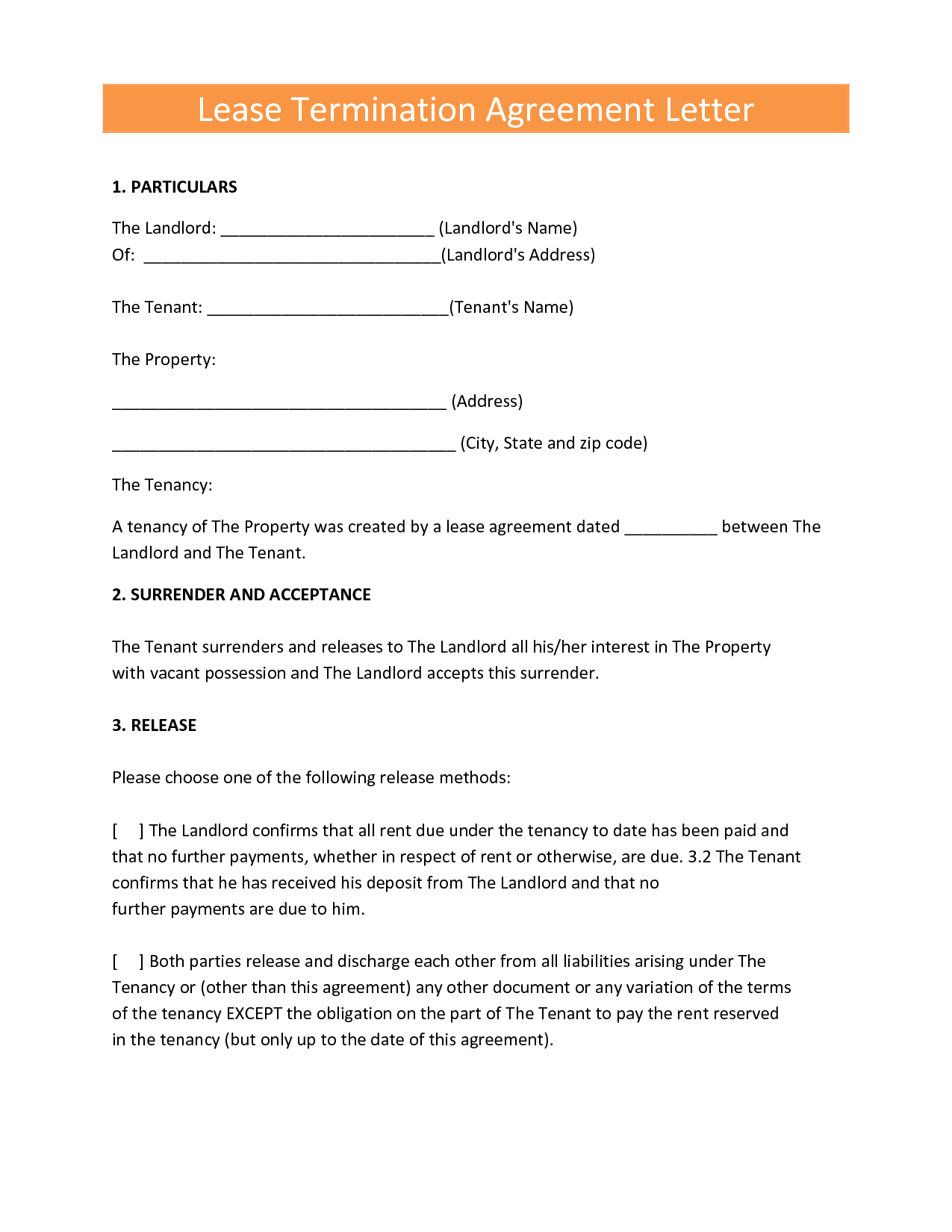 Landlords Contract Template Sample Tenancy Formal Early Lease Termination  Letter Resume Example