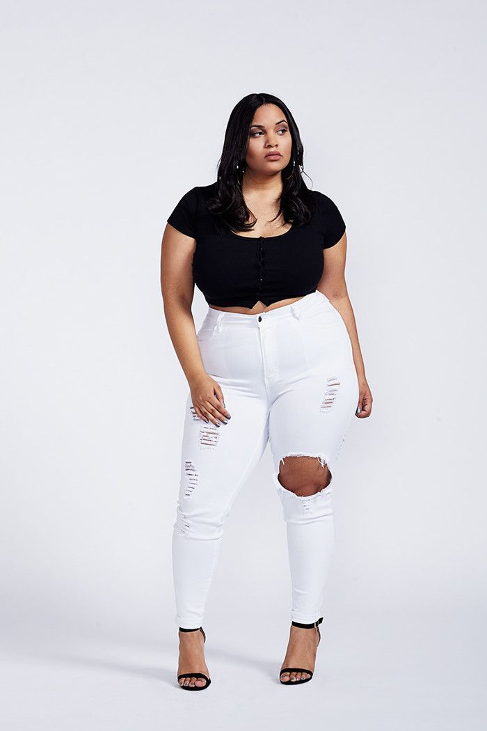 1f41c44e825 Formation High Waist White Cut Out Skinny Leg Jeans Plus Size ...