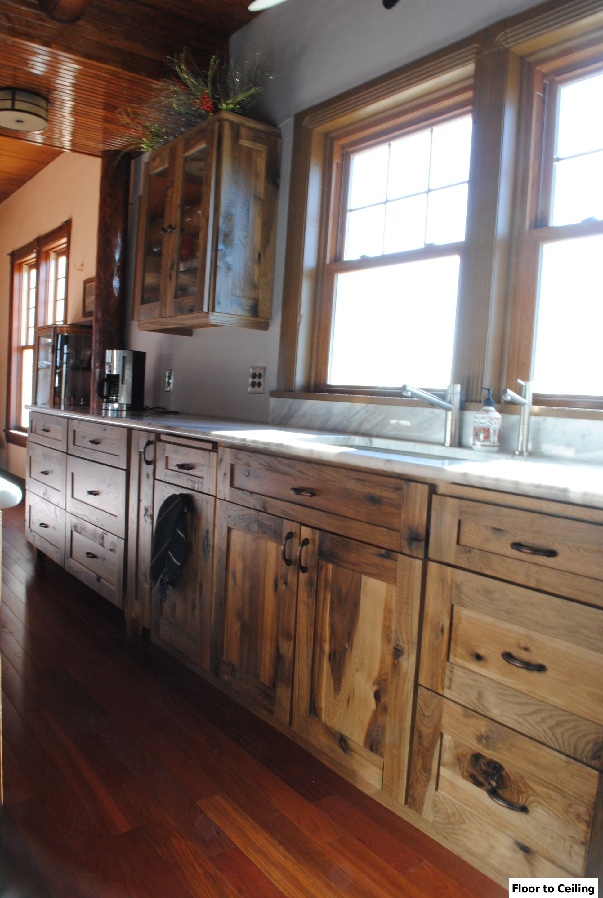 rustic hickory kitchen cabinets wall pictures for log cabin remodel installed woodland cabinetry
