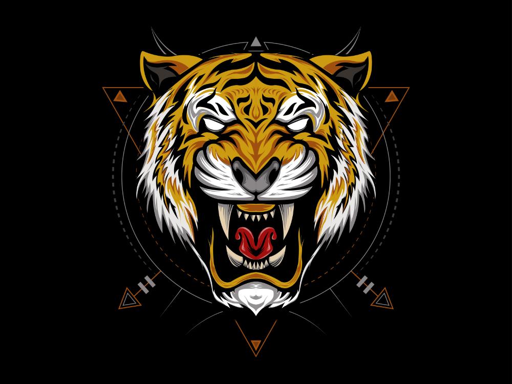 The Tiger Head Illustration On The Black Background Tiger Illustration Black Background Design Tiger Art