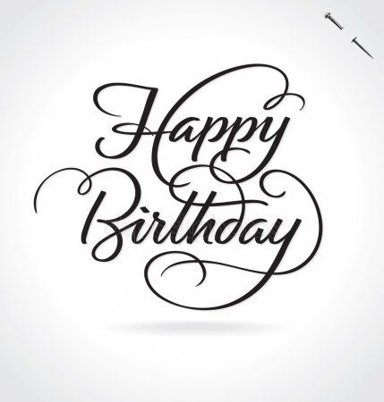Happy Birthday Hand Lettering Vector Illustration Hand Drawn