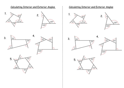 Interior And Exterior Angles Of Polygons Teaching Resources Exterior  Angles, Interior And Exterior Angles, Angles Worksheet