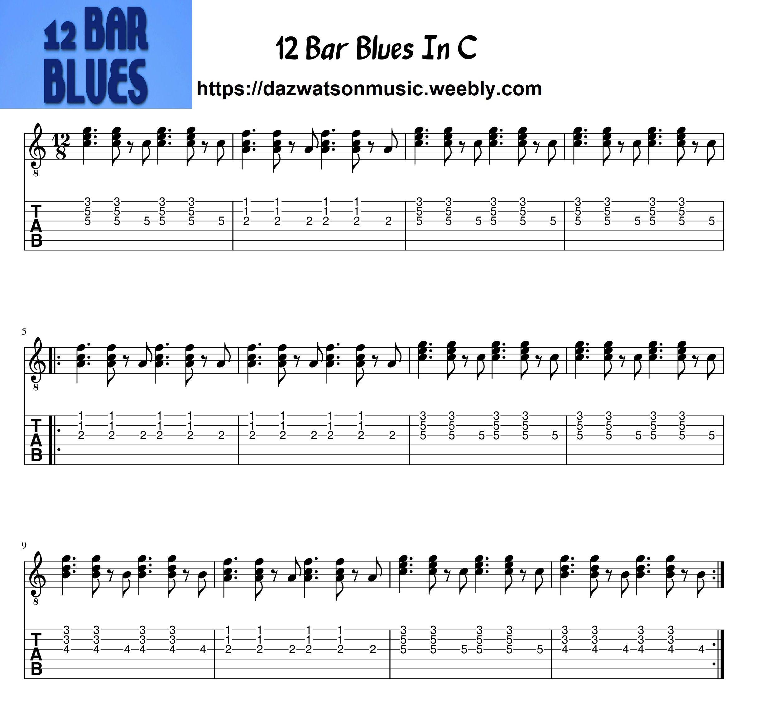 12 Bar Blues For Guitar Guitar Tabs Blues Guitar Guitar Tabs Songs