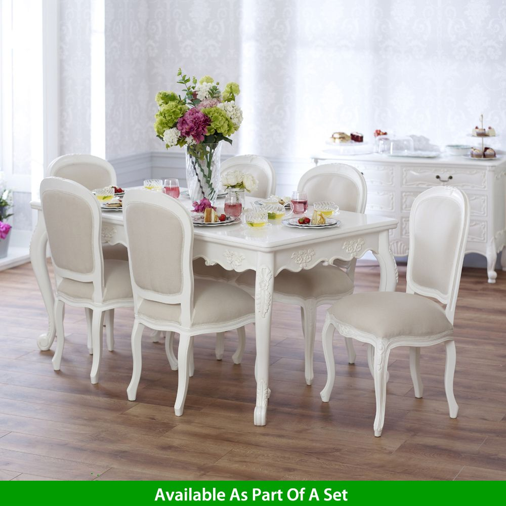 French Chateau White Painted Carved Rectangle 6 8 Seater Dining