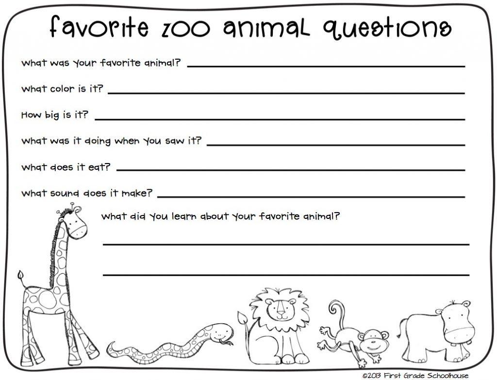 Printable Kindergarten Writing Worksheets Zoo Animal Math