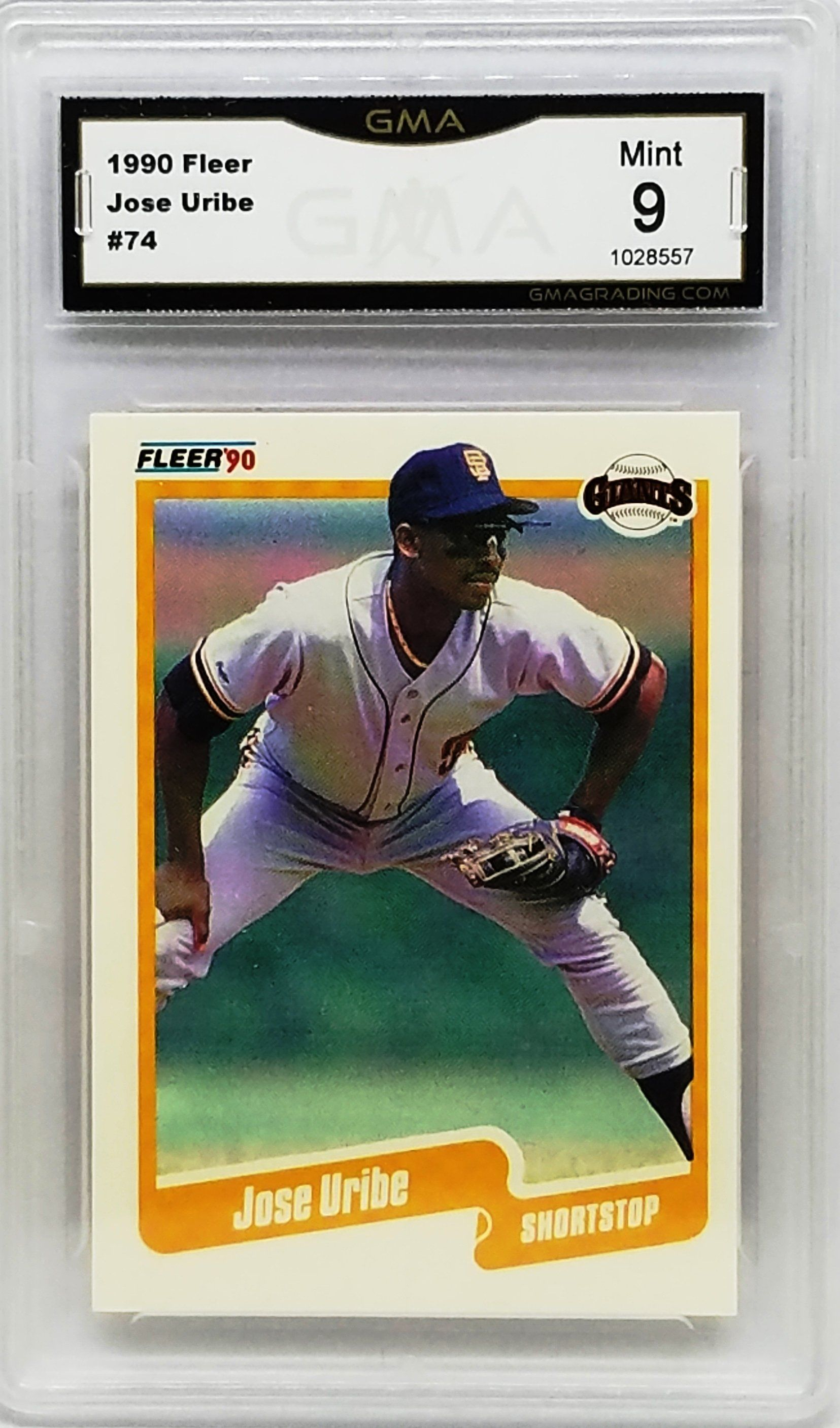 Graded 9 Mint Jose Uribe 1990 Fleer 74 Giants Baseball