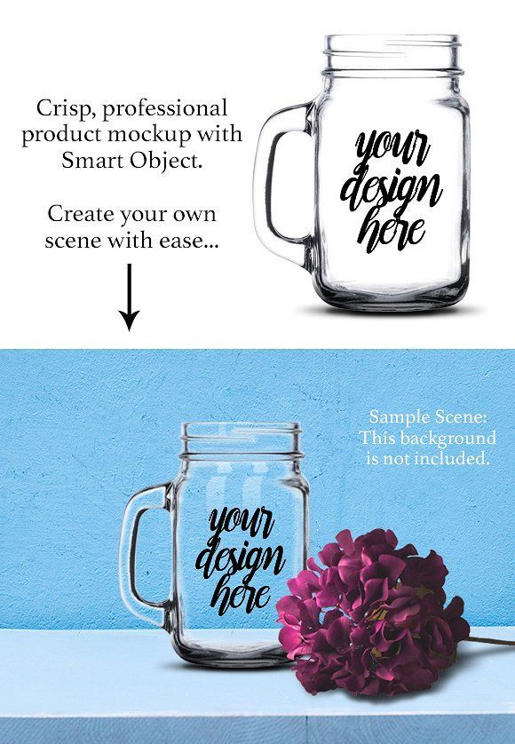 Mason Jar Mug Mockup Template PSD   Pinterest   Glass etching, Mock ...