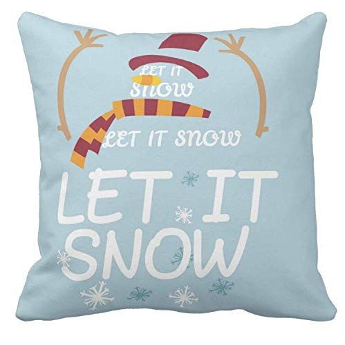 Kissenday 18X18 Inch Let It Snow Snowman Merry Christmas Festival Saying Cotton Polyester Decorative Home Decor Sofa Couch Desk Chair Bed Car Birthday Housewarming Gift Square Soft Throw Pillow Case Nativity Blueprint Armchair Compliment Thrilled Cheerful Classy Mother Shabby Chic American Print Addition Typography Domplimentary Friend Hostess Month Idea Personalized Magical Kid Style Sledding Footprint Ski Family Member Natural Space Warm Inviting Spirit Great Fun Popular Naive Grunge Skate ice