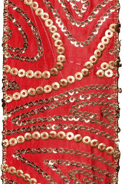 gold sequin paisley, red gold