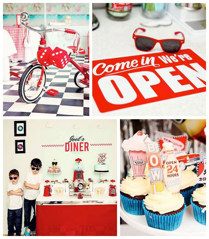 1950 39 s diner rock n roll themed birthday party party ideas pinterest themed birthday - Rock and roll theme party decorations ...