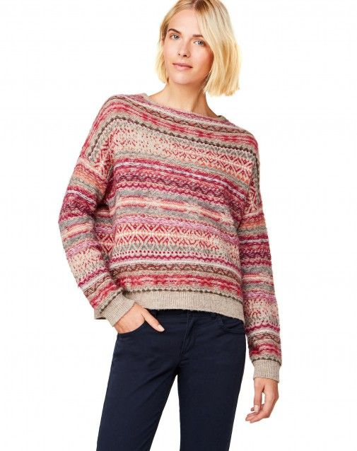 Sweater with round neck and long sleeves, in warm and soft wool ...