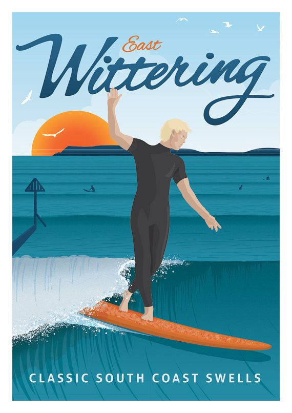 VINTAGE HAWAII SURF SURFING TRAVEL A3 POSTER PRINT