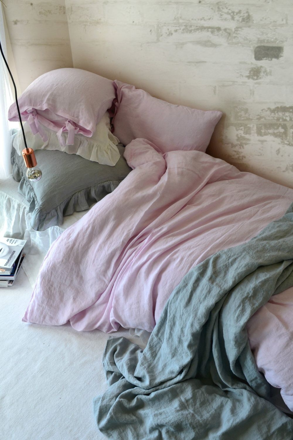 Cosy Up For A Night In Your Blush Pink Linen Sheets.