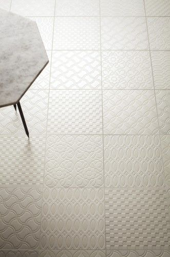 Mixed Pattern In Blanc A Porcelain Floor Tile Available At World Mosaic Vancouver