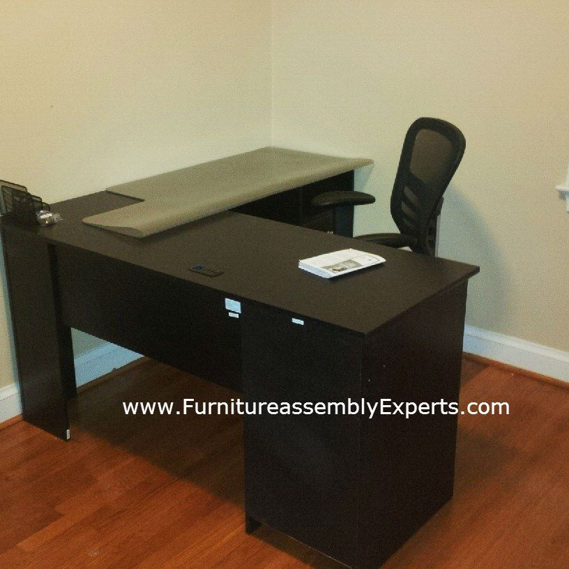staples l shaped desk by bush furniture assembled in silver