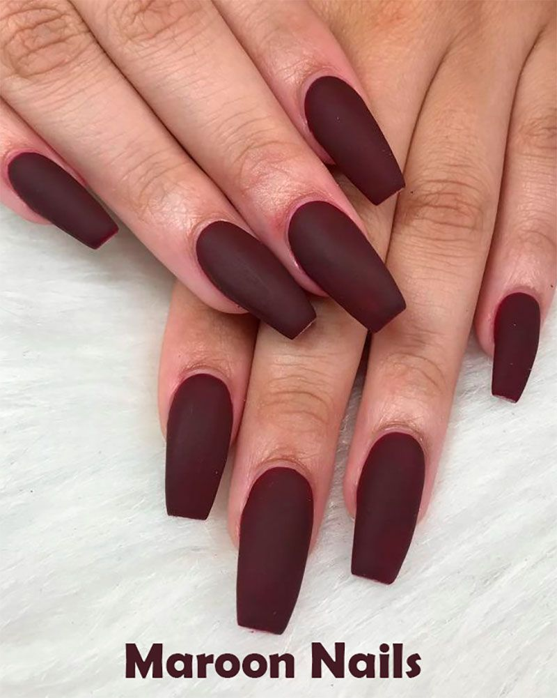 The Best Nail Trends For Cute Fall Manicure Maroon Nails Cute Acrylic Nails Maroon Nail Designs