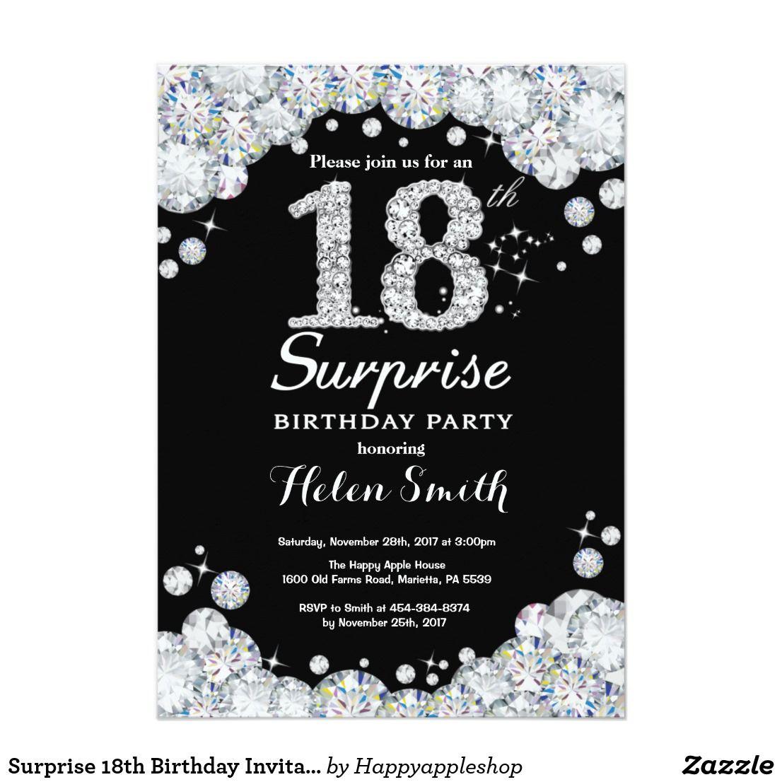 Surprise 18th Birthday Invitation Silver Diamond