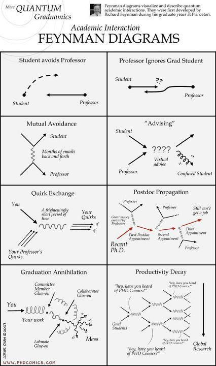 Academic Interaction Depicted By Feynman Diagrams Charts Graphs