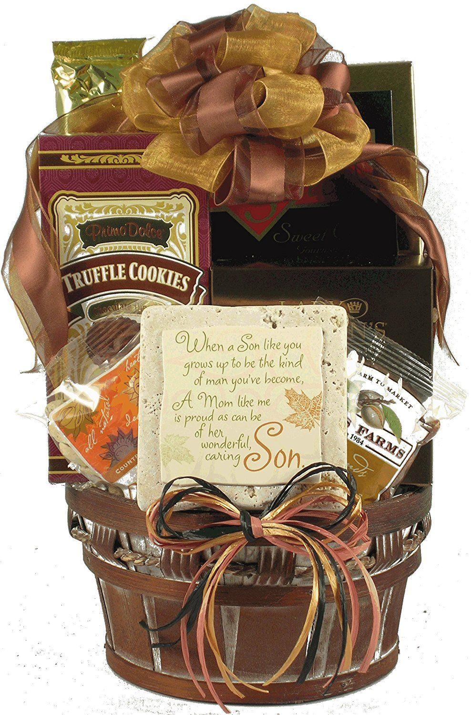A mothers pride gourmet elegant gift basket for son