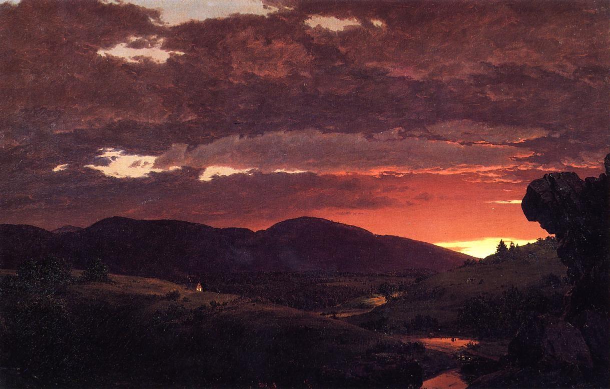 The Athenaeum - Twilight, 'Short arbiter 'twixt day and night' (Frederic Edwin Church - 1850)