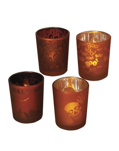 Festive Glass Candle Holders 4-Pack. $12.99