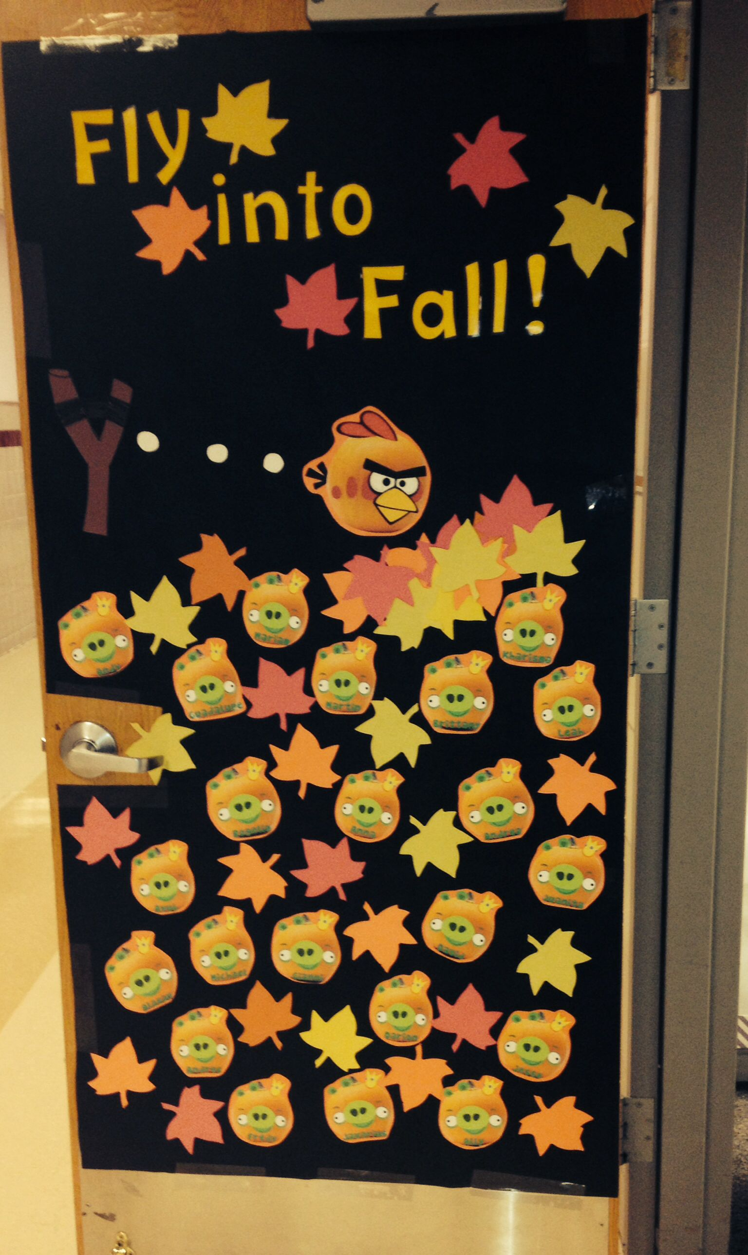 Angry Birds Fall Themed Door On My Classroom For My