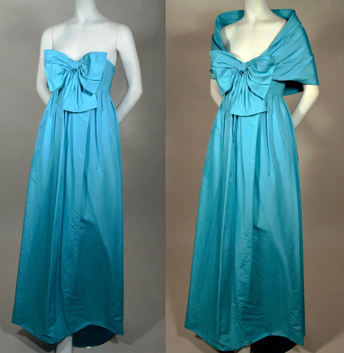 STRAPLESS EMPIRE GOWN TWO PIECE 1960's VINTAGE GOWN WITH