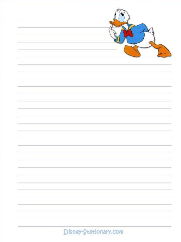 Donald Duck writing paper Magic and Memories Disney printables