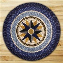 Compass Design Nautical Theme Braided Rug. 100% natural Jute Fiber - Eco Friendly!