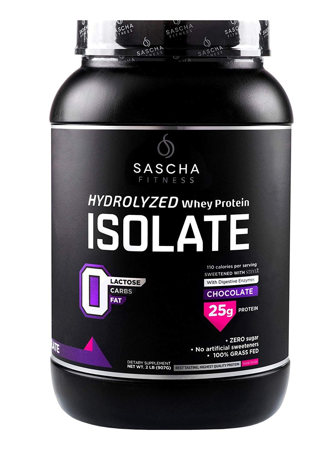 Sascha Fitness Hydrolyzed Whey Protein Isolate 100 Grass Fed 2 Pound Chocolate Isolate Protein Workout Protein Whey Protein Isolate