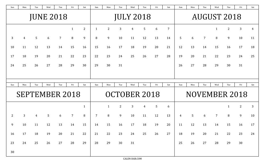 6 Months Template Of June To November 2018 Calendar In Landscape