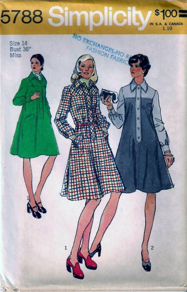 Vintage 70s Tent Dress Or Jumper Sew Pattern 5788 B36 Size 14 | Tent ...