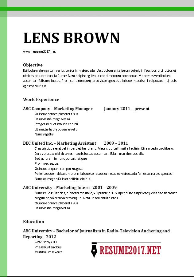 It Sample Resume Format Resume Format 2017 Template  Resume Format And Sample Resume