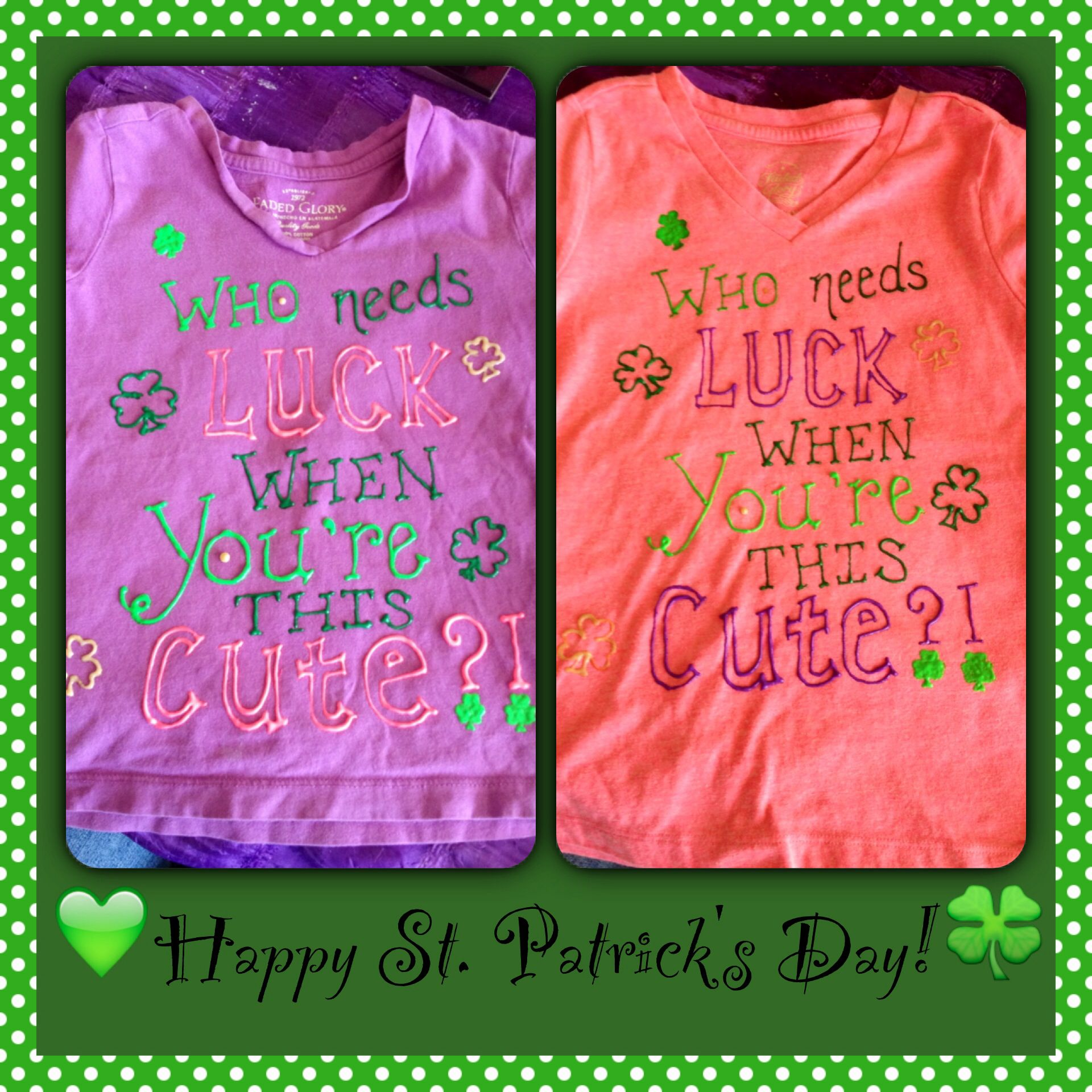 Kids st patrick 39 s day t shirts w puff paint girls st for Puffy paint shirt designs