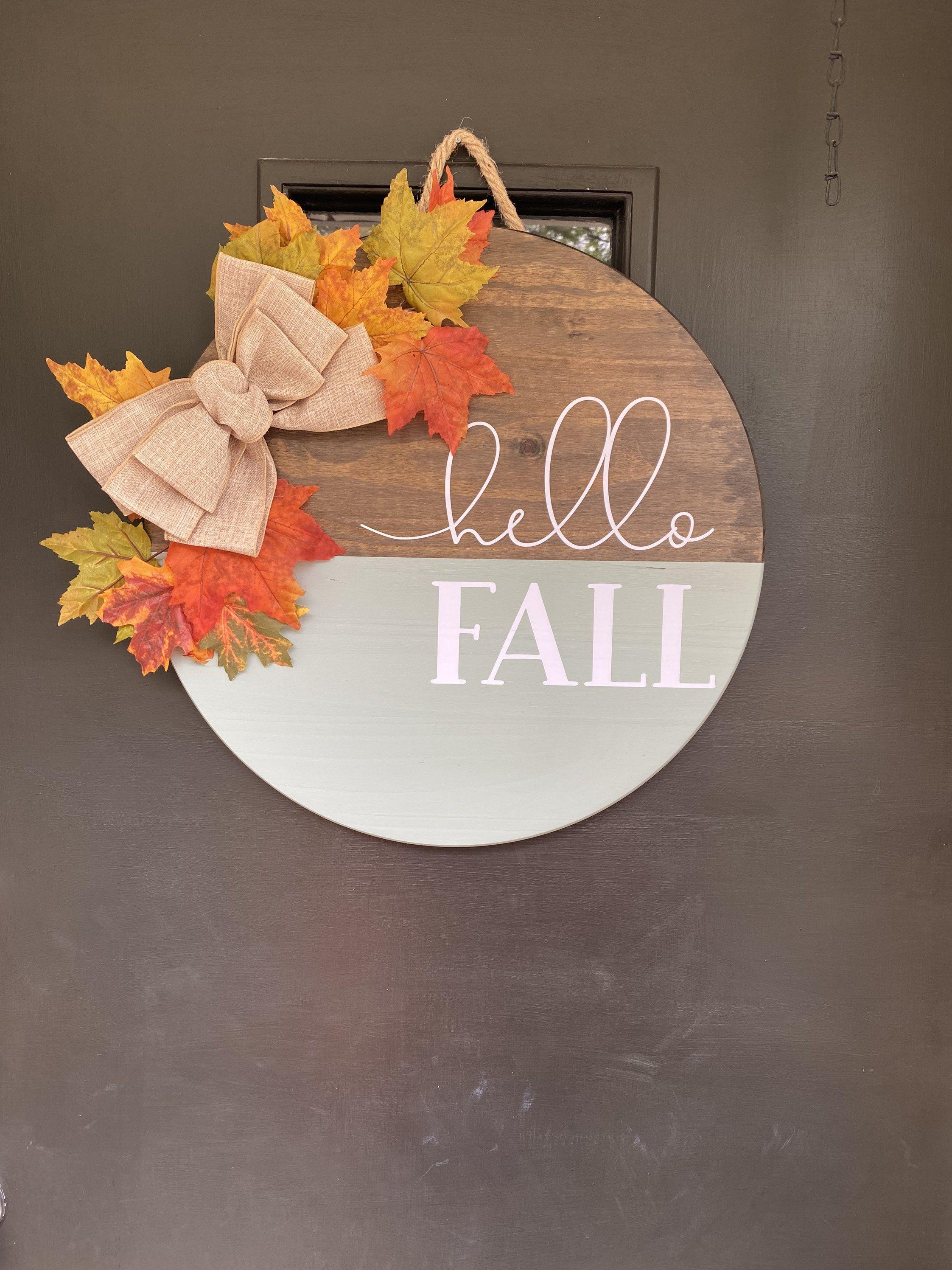 Hello Fall Door Hanger | Fall Door Decor | Autumn Front Door Sign