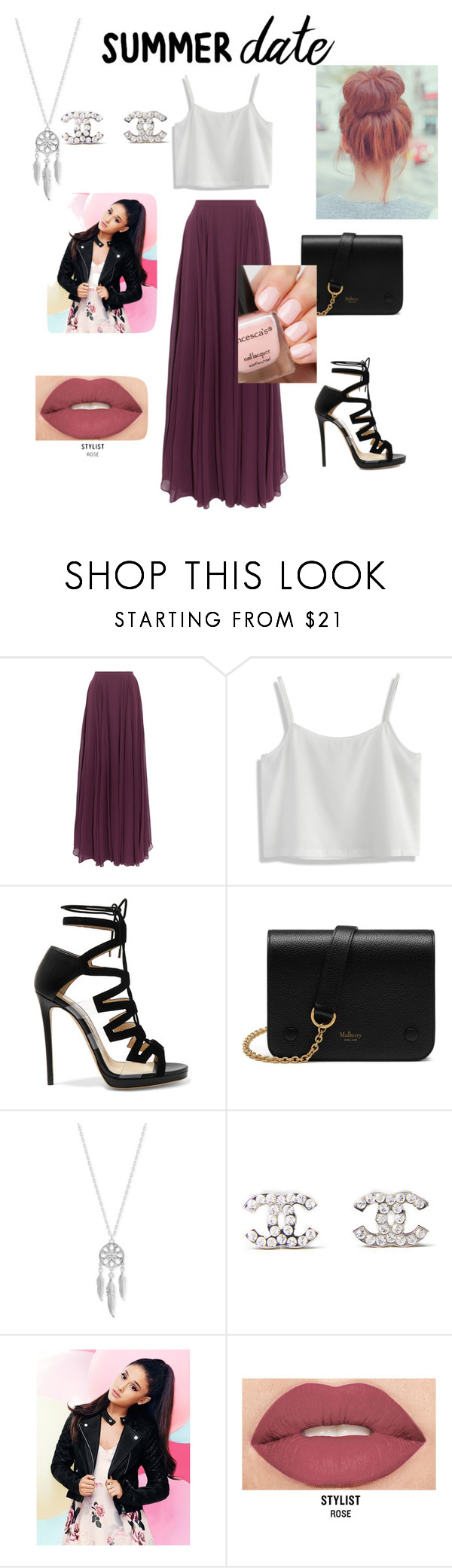 """""""Summer date"""" by kktempolove2016 ❤ liked on Polyvore featuring Halston Heritage, Chicwish, Jimmy Choo, Mulberry, Lucky Brand, Chanel, Lipsy, Smashbox, summerdate and rooftopbar"""