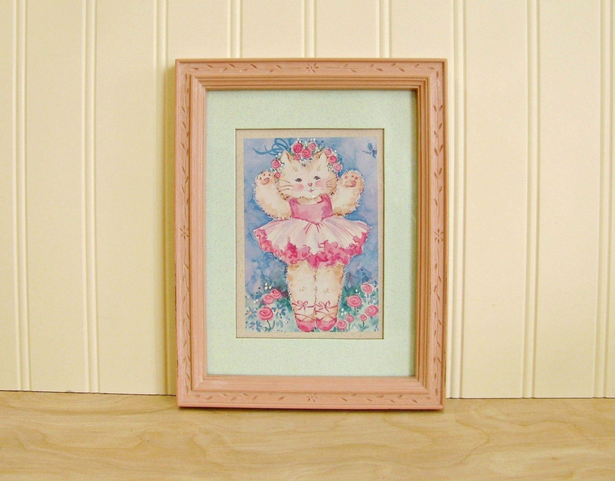 vintage framed pink ballerina cat print cat ballerina print cat