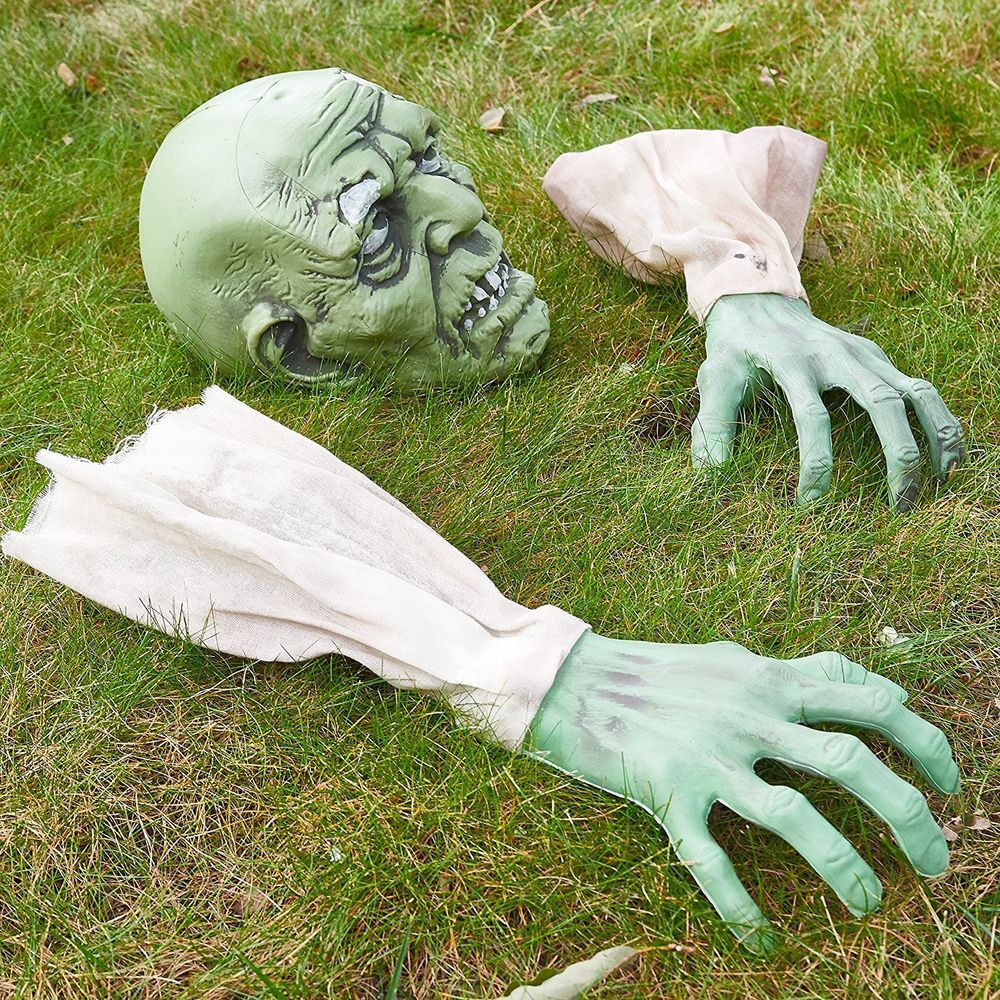 Halloween Yard Decoration Scary Zombie Face and Arms Lawn Stakes - Scary Halloween Yard Decorating Ideas