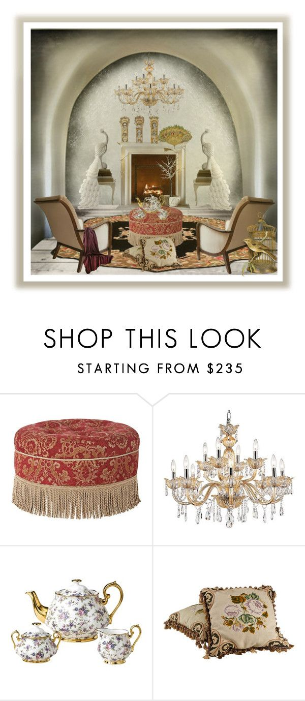 """""""Pretty Peacocks!"""" by eco-art ❤ liked on Polyvore featuring interior, interiors, interior design, home, home decor, interior decorating, Jennifer Taylor, Universal Lighting and Decor and Royal Albert"""